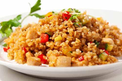 stekt ris med kylling
